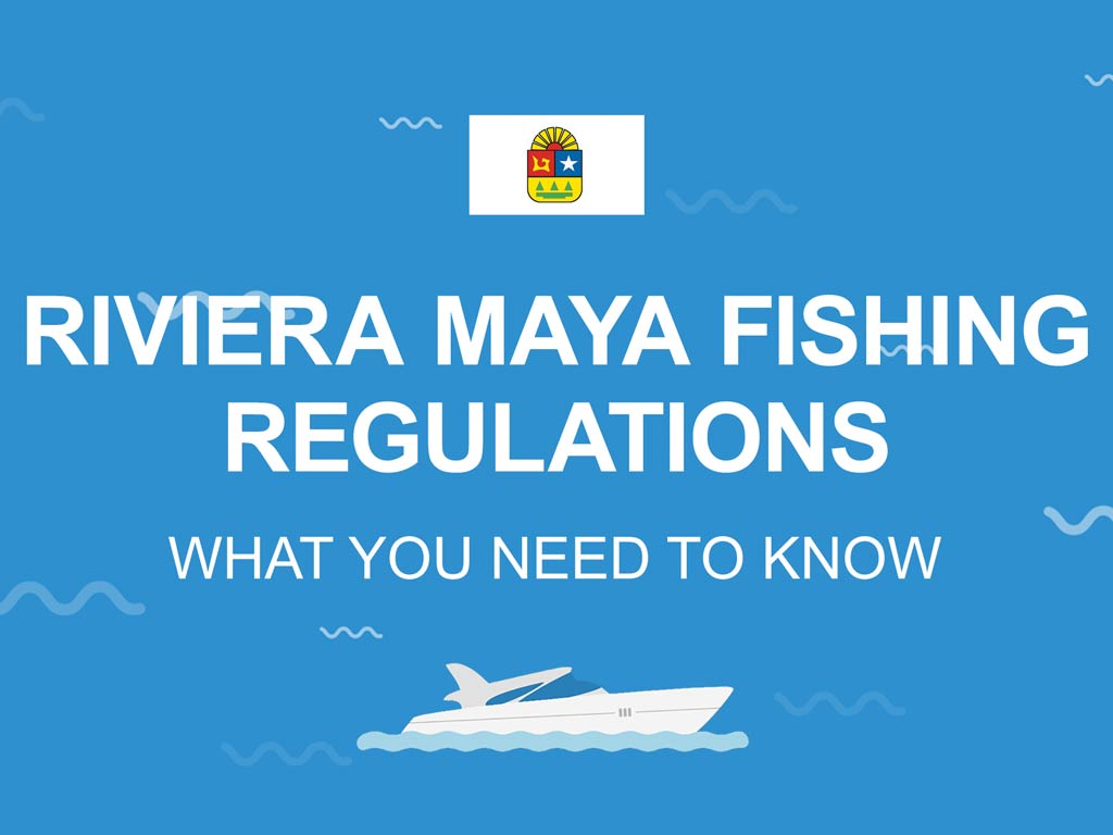 """An infographic with the Quintana Roo flag with the text """"Riviera Maya fishing regulations"""""""