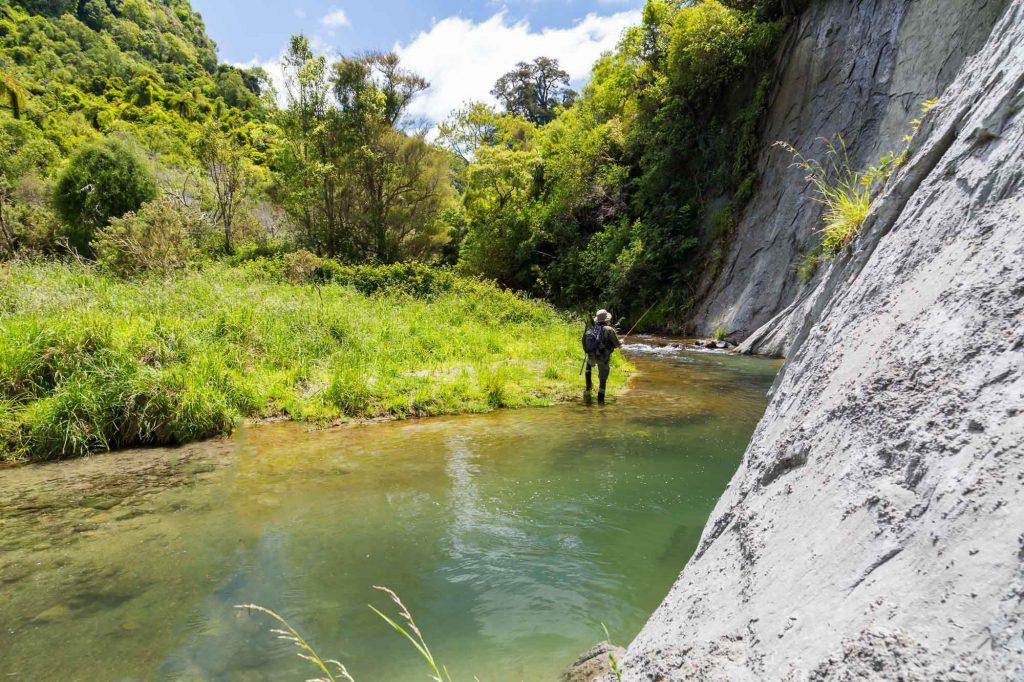 Man fly fishing on upper Mataura River, New Zealand