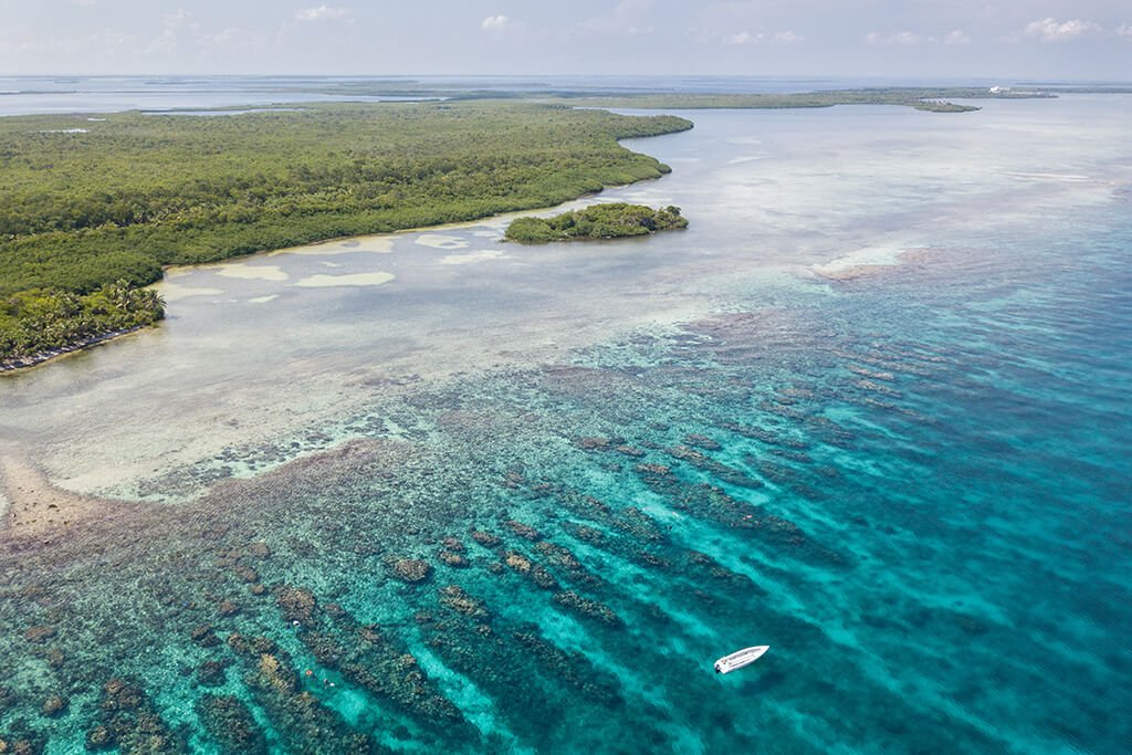 Clear turquoise water and a beautiful island on Belize's Turneffe Atoll.
