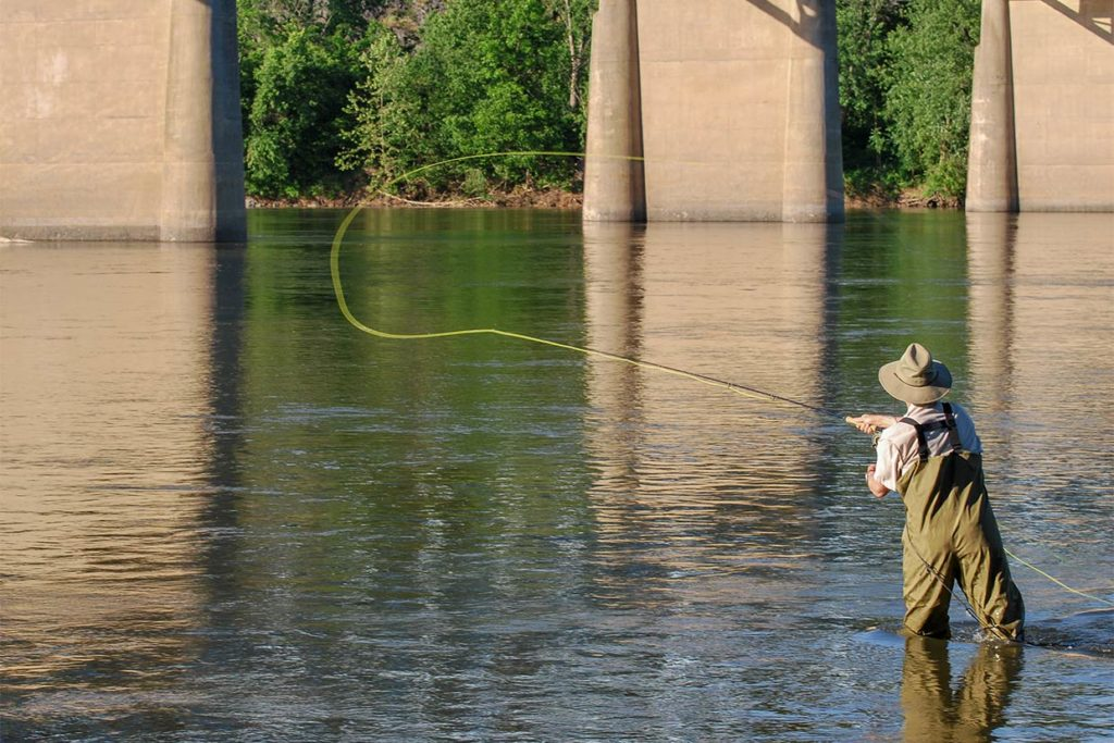 An angler casts on the fly in the Potomac River