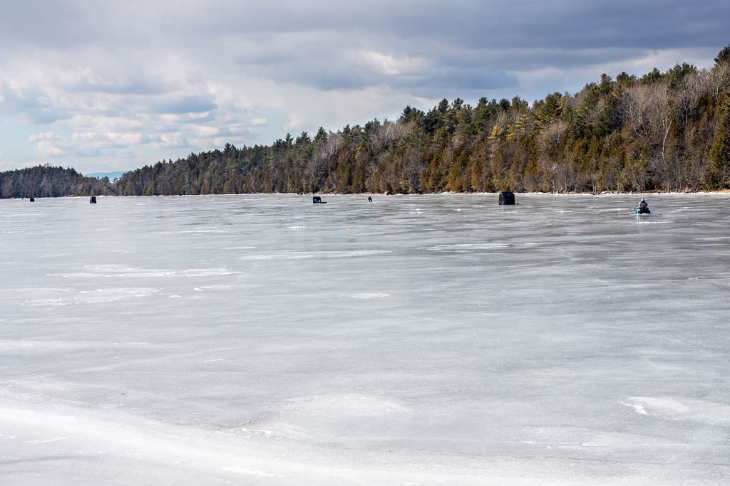 Lake Champlain, frozen over in the winter.