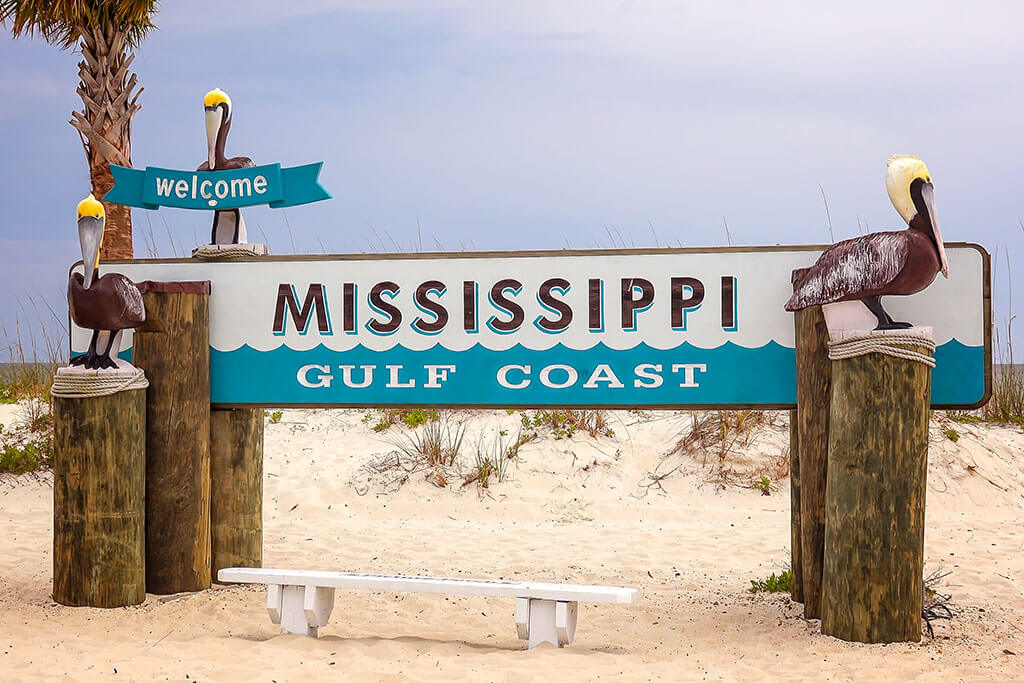 """A sign reading """"Mississippi Gulf Coast"""""""