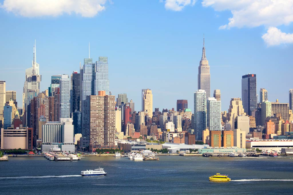 The New York City skyline as seen from the Hudson River.