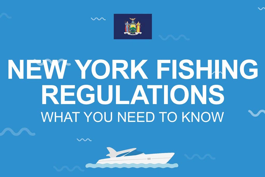 """A image displaying the text """"New York Fishing Regulations, What You Need to Know"""" on a blue background and an image of a fishing boat underneath."""