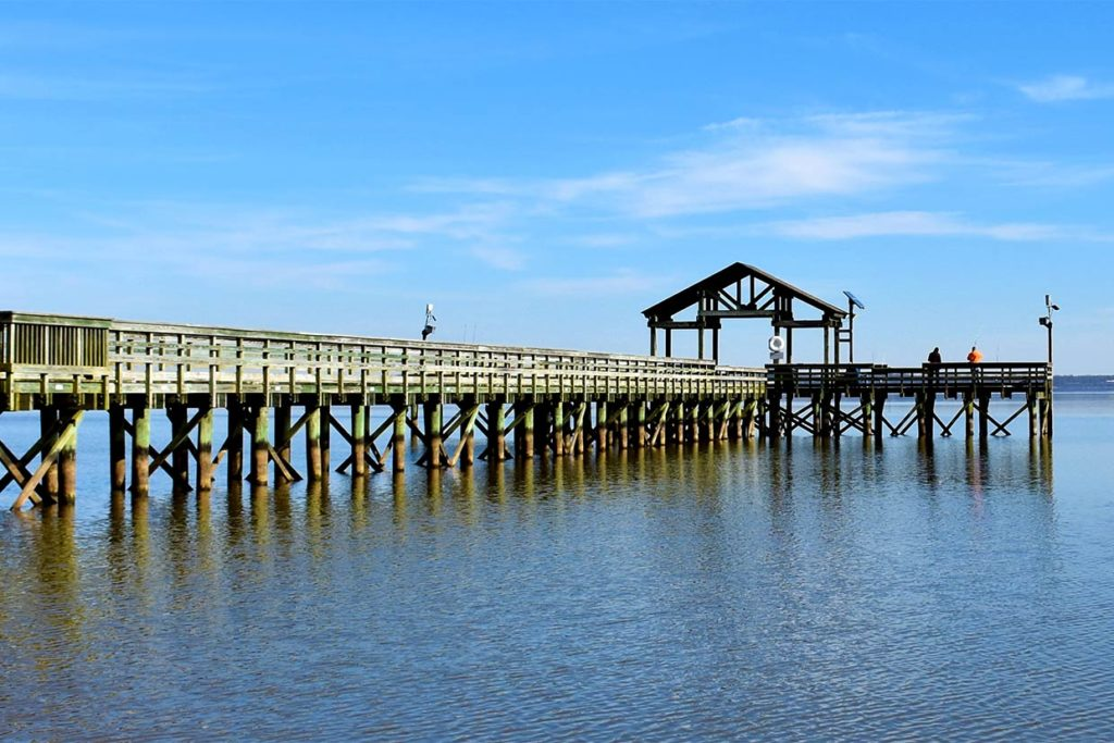A view of a fishing pier on a river in Virginia