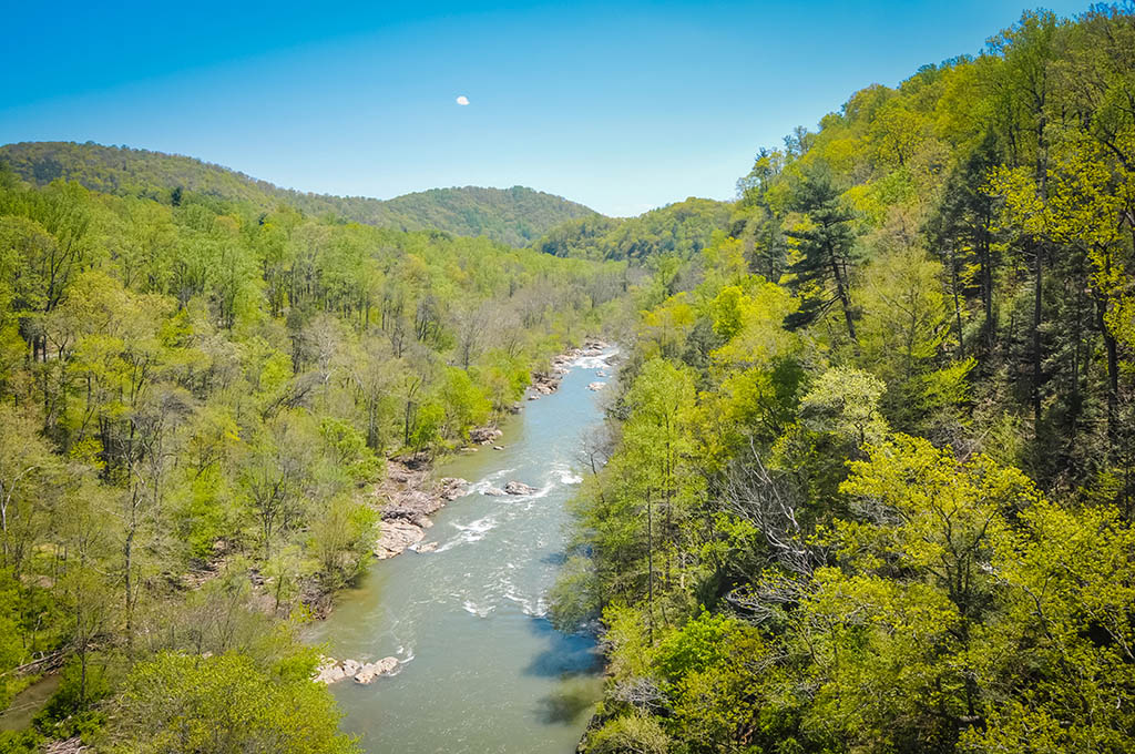 An aerial view of the Roanoke River in Virginia, a popular spring fishing spot