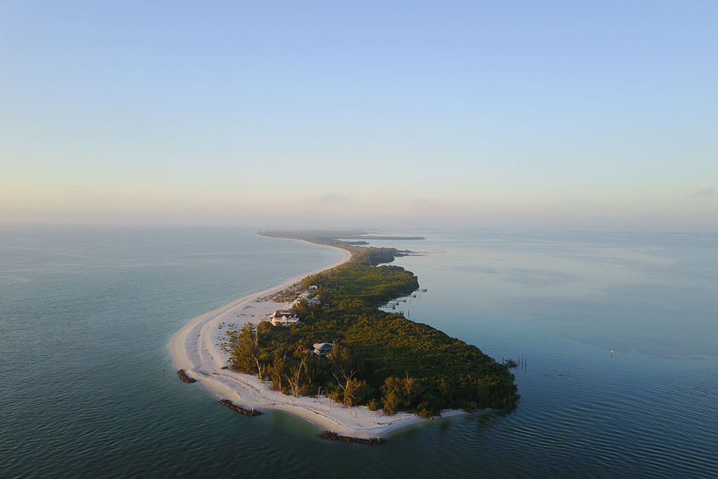 An aerial view of Sanibel Island in Florida, one of America's top spring fishing spots