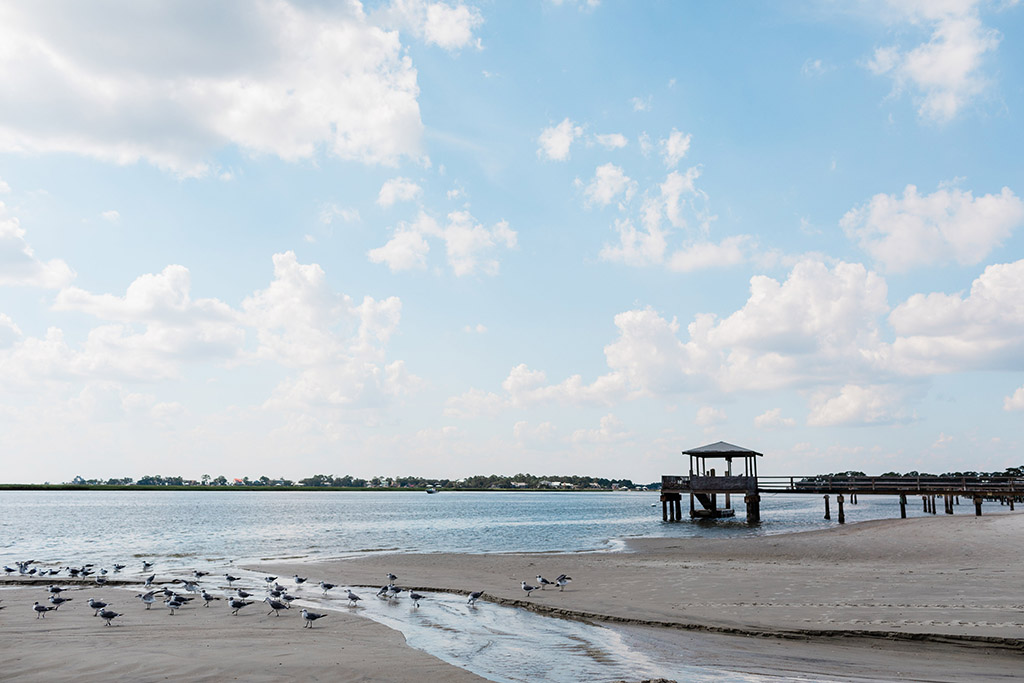 A beach and pier on Tybee Island, GA, one of the best spring fishing spots in the US