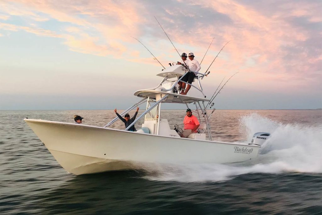 A group of anglers head out to sea aboard a charter in Virginia