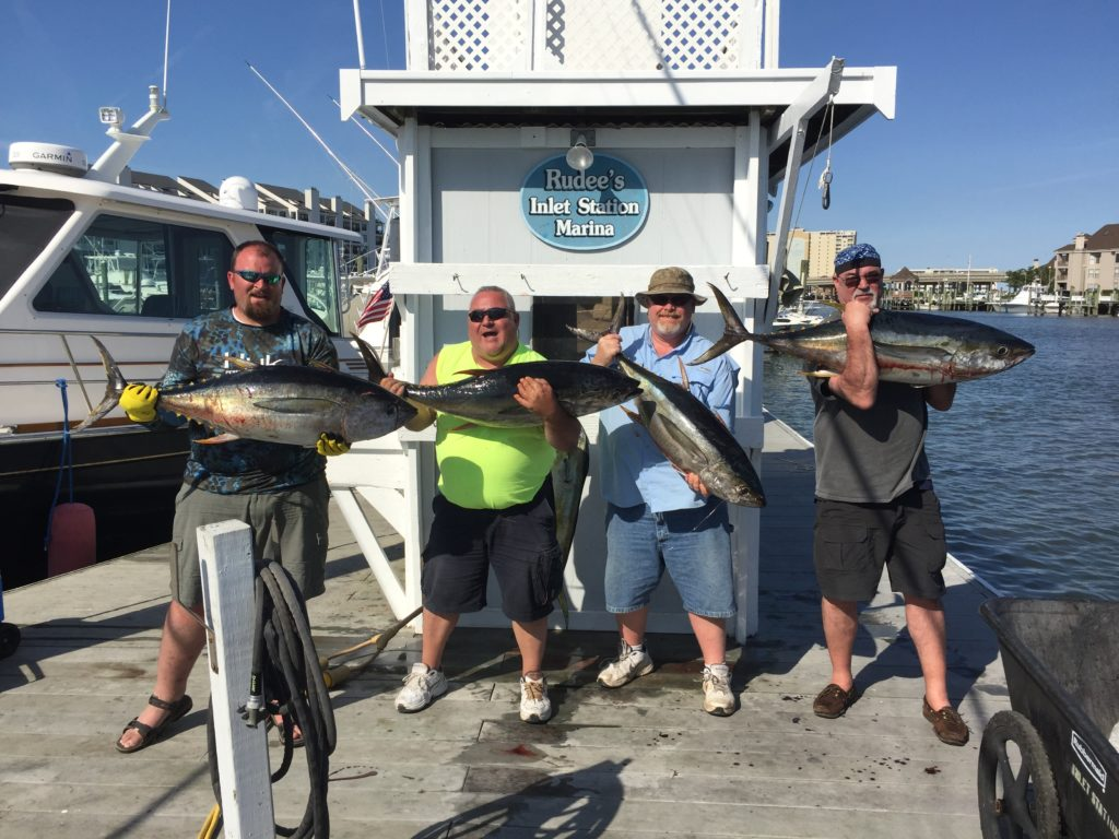 A group of anglers hold a Yellowfin Tuna each after returning to the dock in Rudee's Inlet, VA