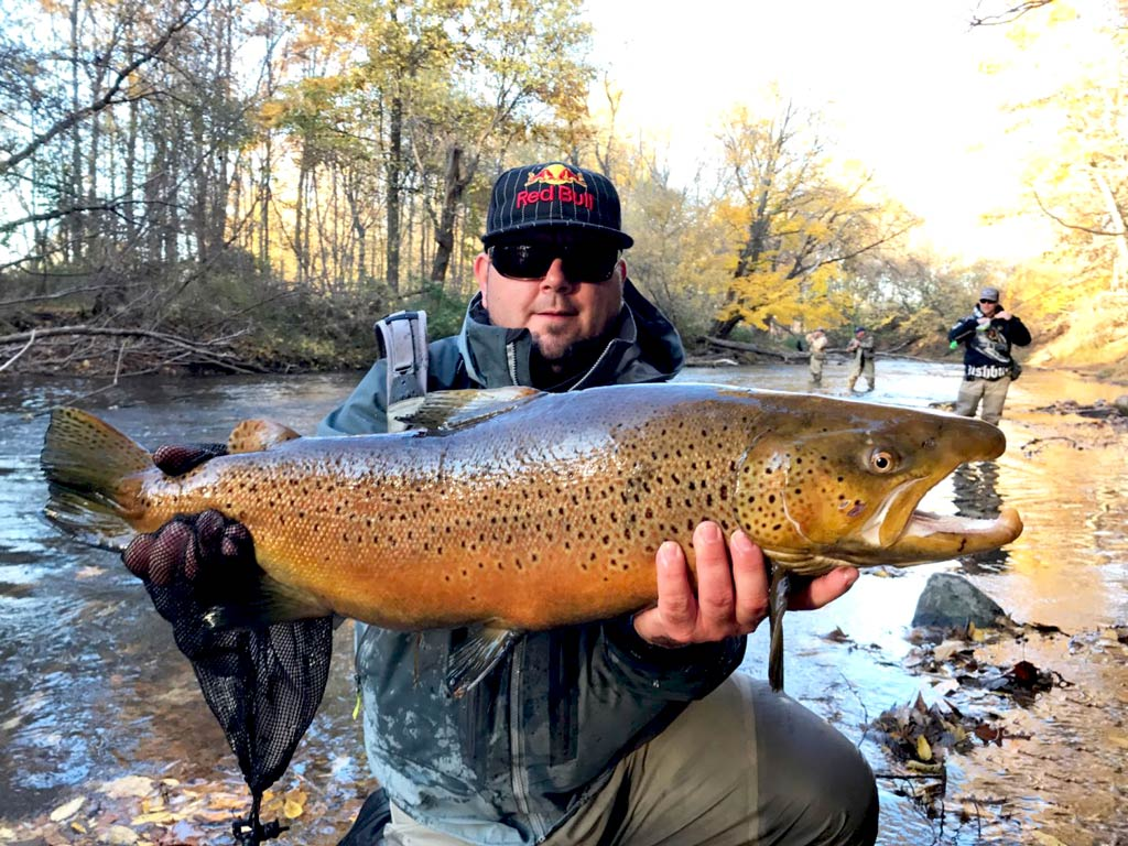 An angler holding a big Brown Trout by the river