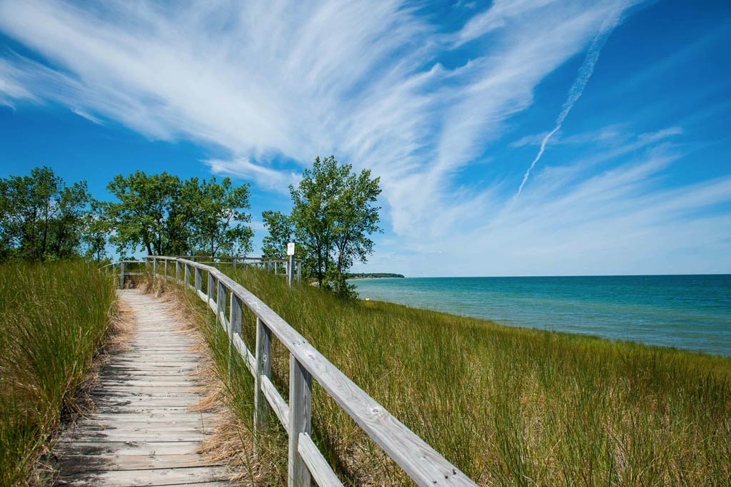 A wooden walkway in Port Austin, Michigan