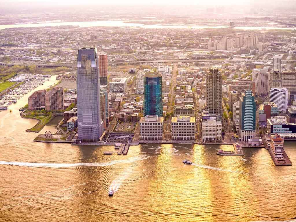 An aerial view of Jersey City at sunset