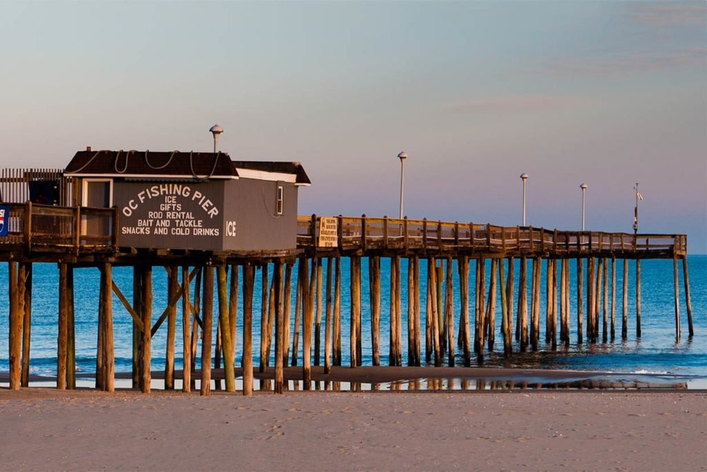 A view of Ocean City fishing pier from the beach