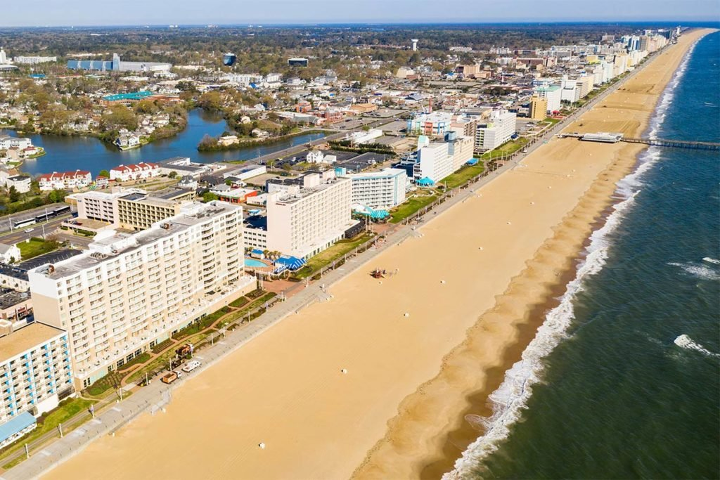 An aerial view of Ocean City with the beach and Atlantic Ocean on the right