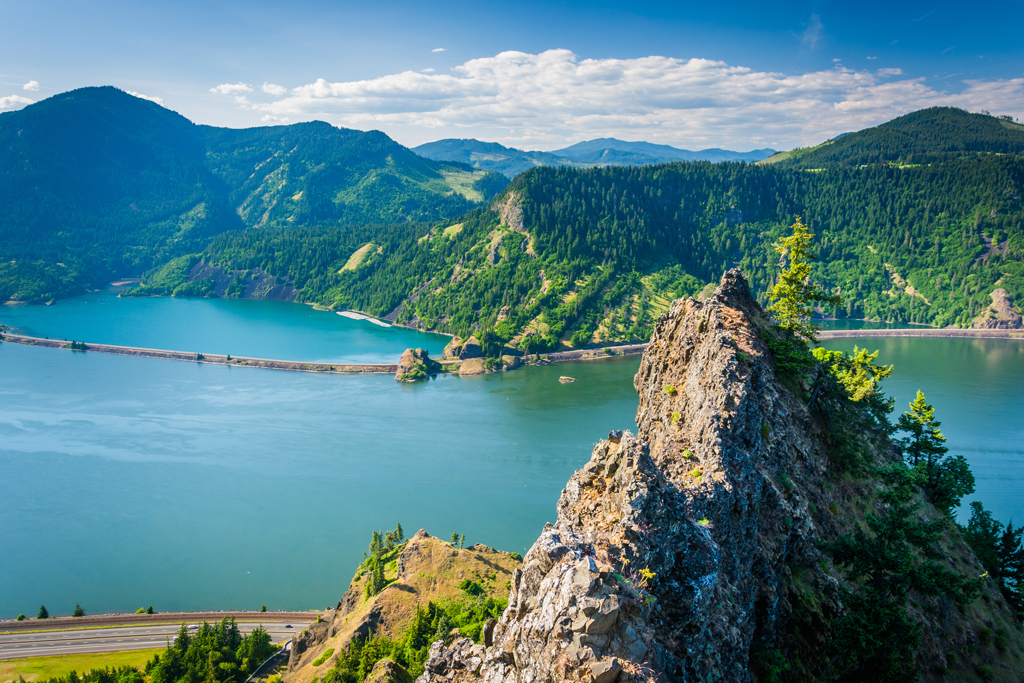 A view of the Columbia River on a sunny day with mountains in the foreground and background