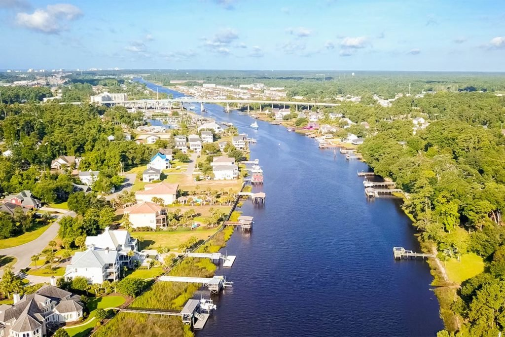 An aerial view of the Little River, part of the Intracoastal Waterway, in South Carolina