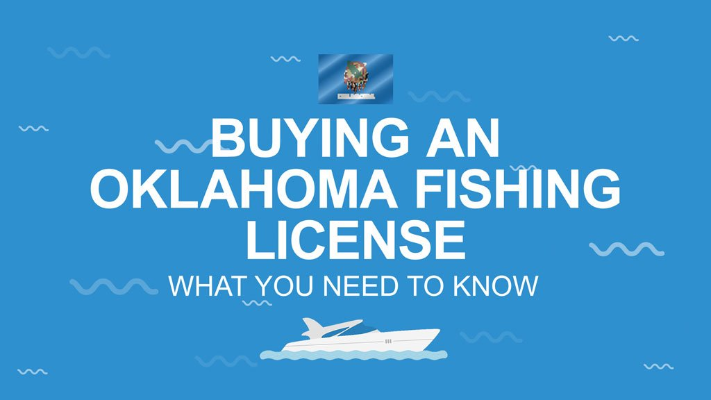 """A graphic showing the Oklahoma state flag, with the text saying """"Buying an Oklahoma Fishing License. What you need to know"""" and an image of a boat below the text, all in front of a blue background."""