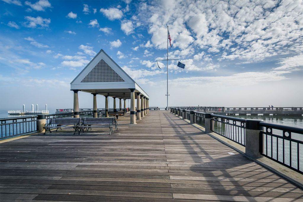 An empty fishing pier in Charleston, SC