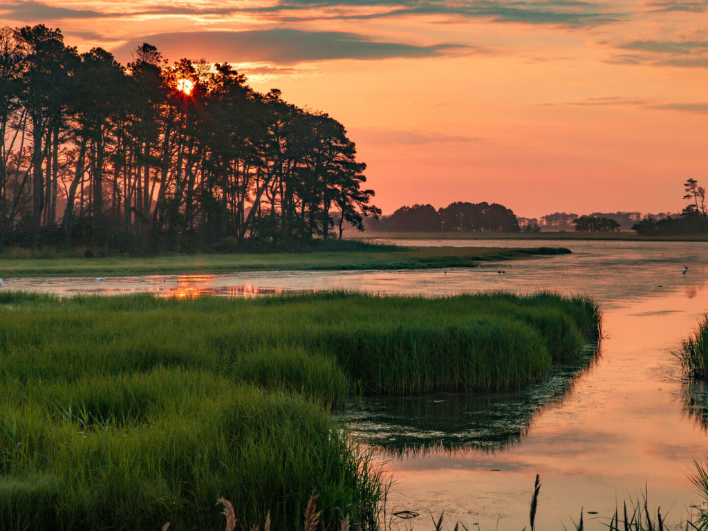 a beautiful sunset on Chincoteague Island, Virginia, one of the best Memorial Day Fishing destinations in the US