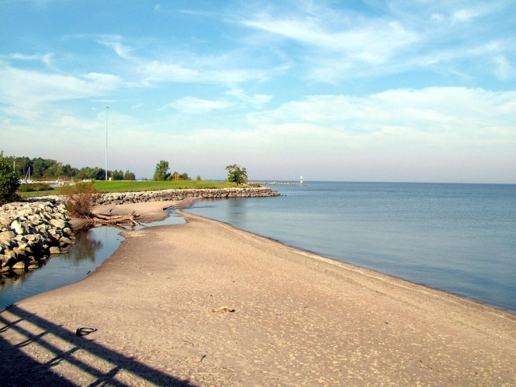 the shore of Lake Erie in Geneva-on-the-Lake, one of the best Memorial Day Fishing destinations in the US