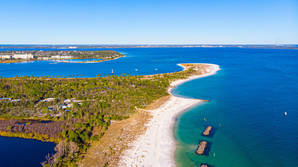 an aerial view of St. Andrew Bay near Panama City, Florida, one of the best Memorial Day Fishing destinations in the US