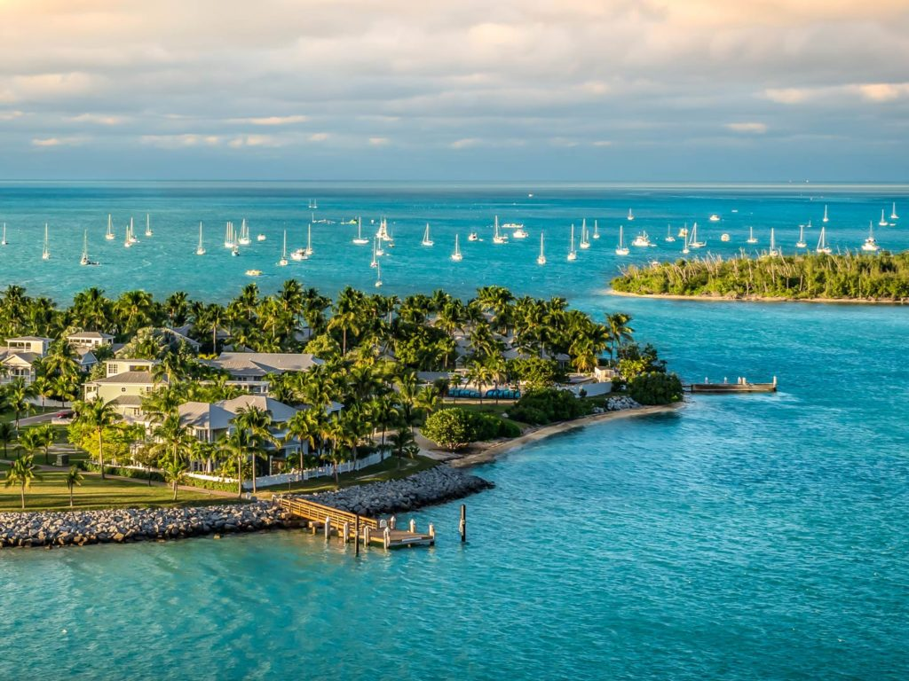 Panoramic sunrise landscape view of  Sunset Key and Wisteria Island within the Island of Key West, Florida Keys