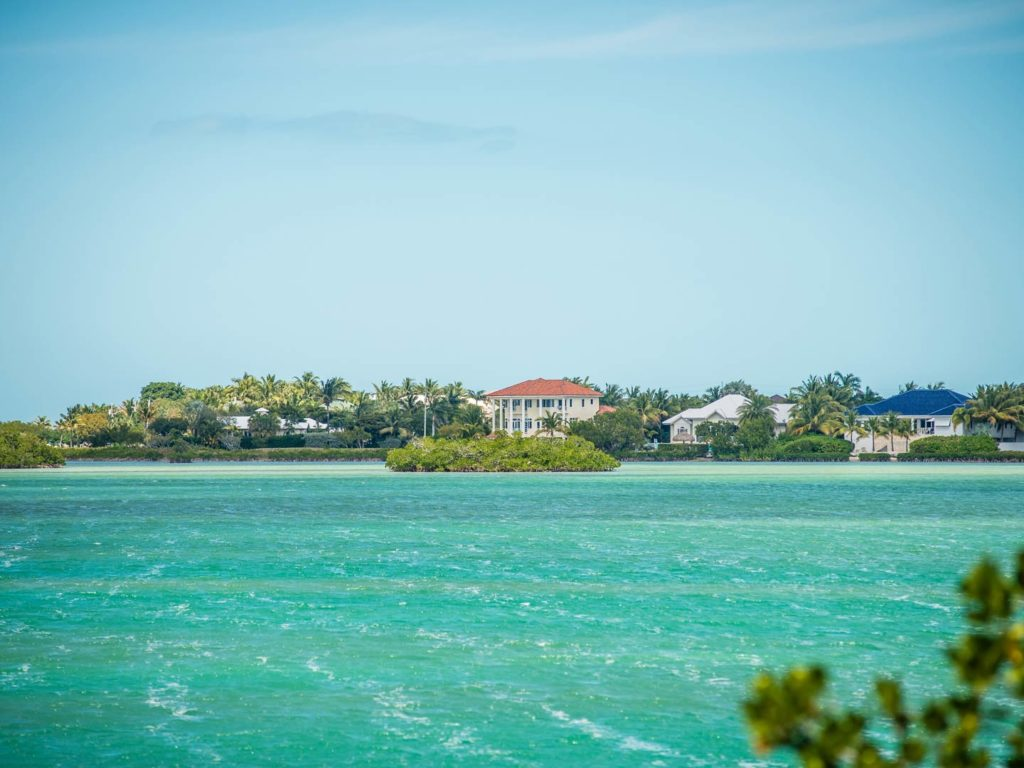 A view of the beach from the ocean in the Florida Keys