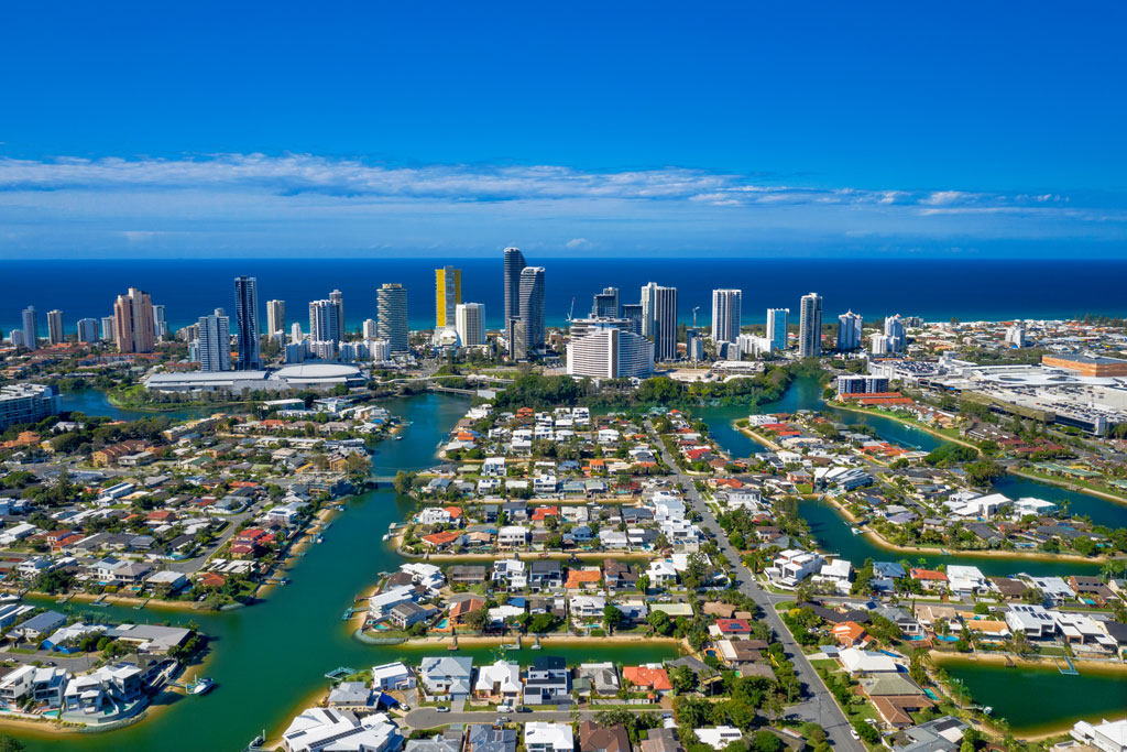 Aerial view of the canals in the city of Gold Coast