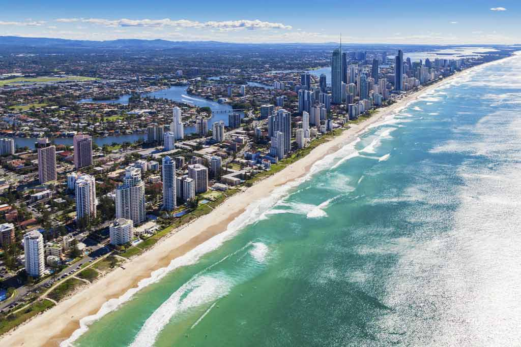 An aerial view of the Gold Coast cityscape and beaches