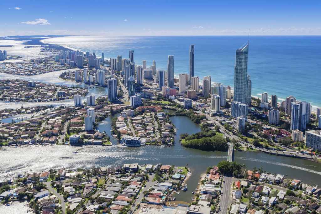 An aerial view of the city of Gold Coast