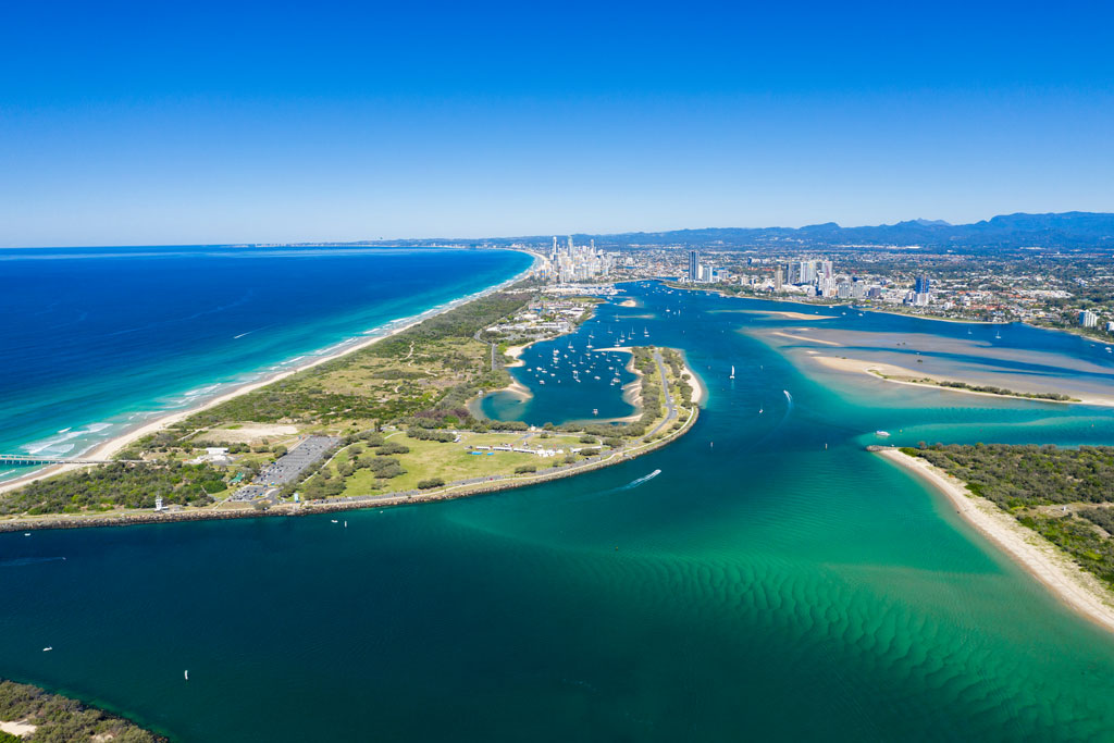 An aerial view of the Gold Coast Seaway