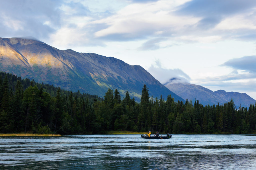 A boat on the Kenai River in Alaska