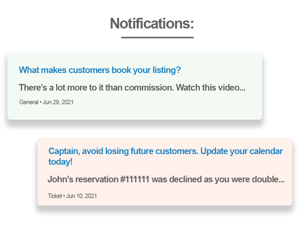 An example of two notifications the could be in the email.