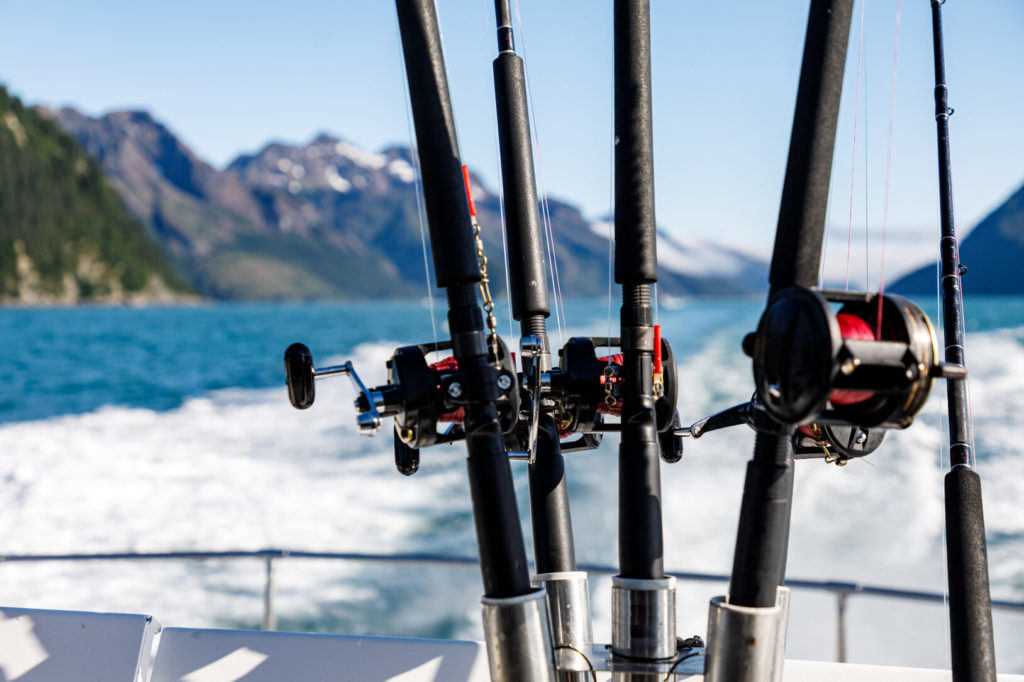 Fishing rods on a boat in Alaska
