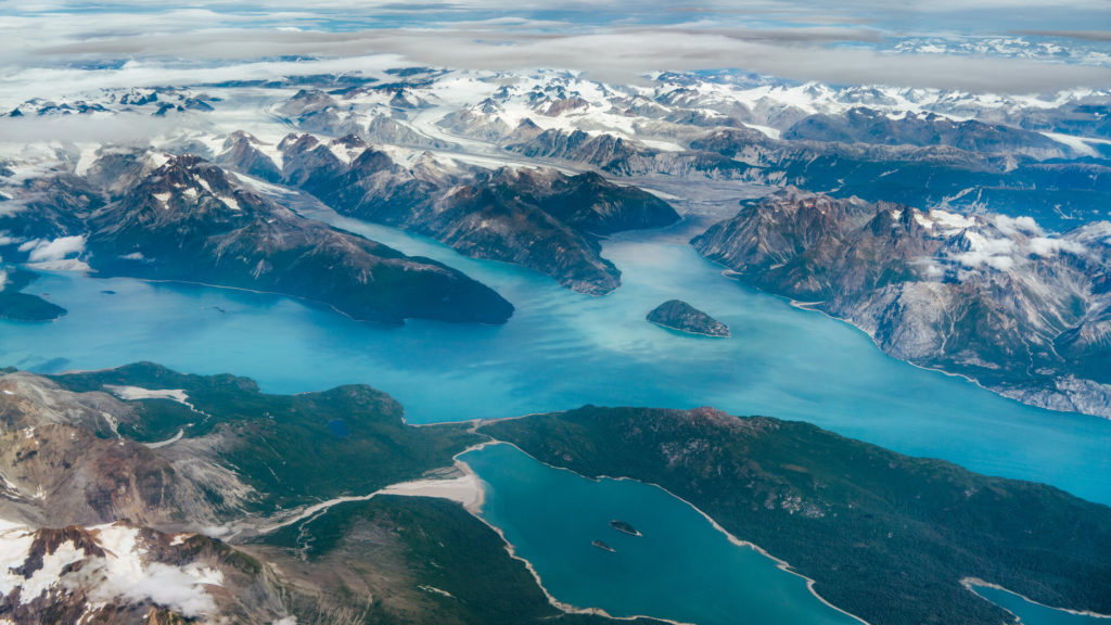 An aerial view of the fjords on a flight from Anchorage to Juneau in Alaska
