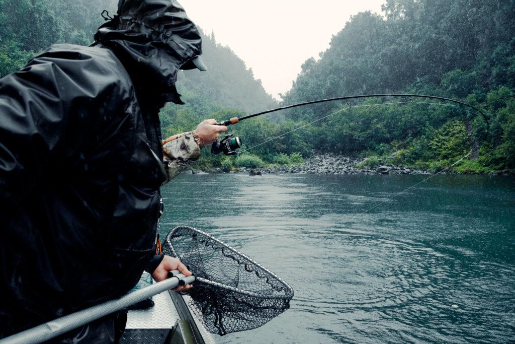 Fly fishermen on a boat targeting Salmon in Alaska