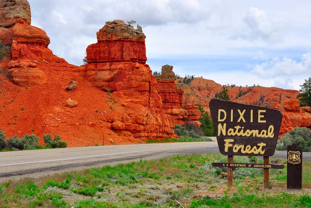 A view of Dixie National Forest's entrance in Utah