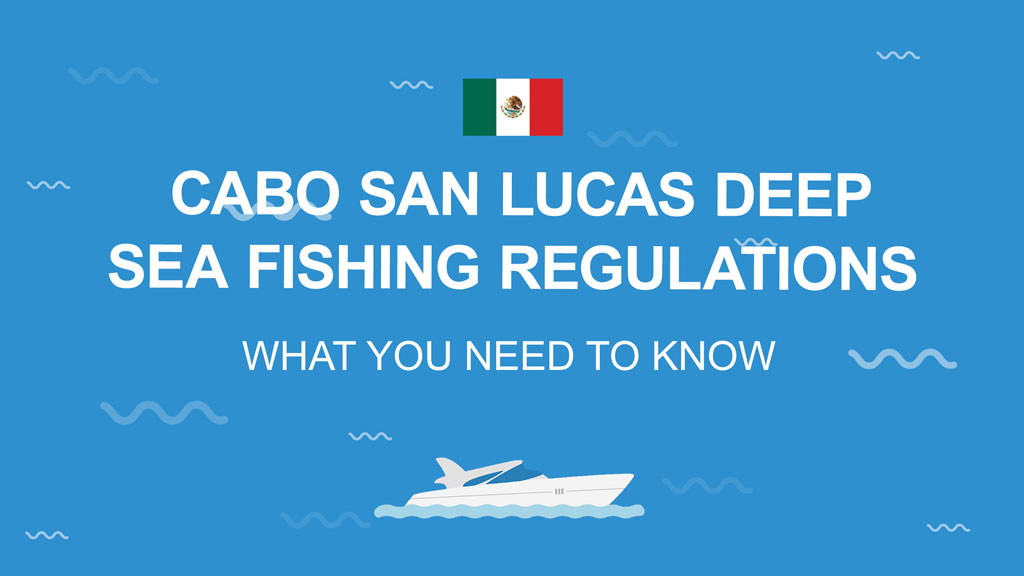 """An infographic stating """"Cabo San Lucas Deep Sea Fishing Regulations: What You Need to Know"""" against a blue background with a Mexican flag"""