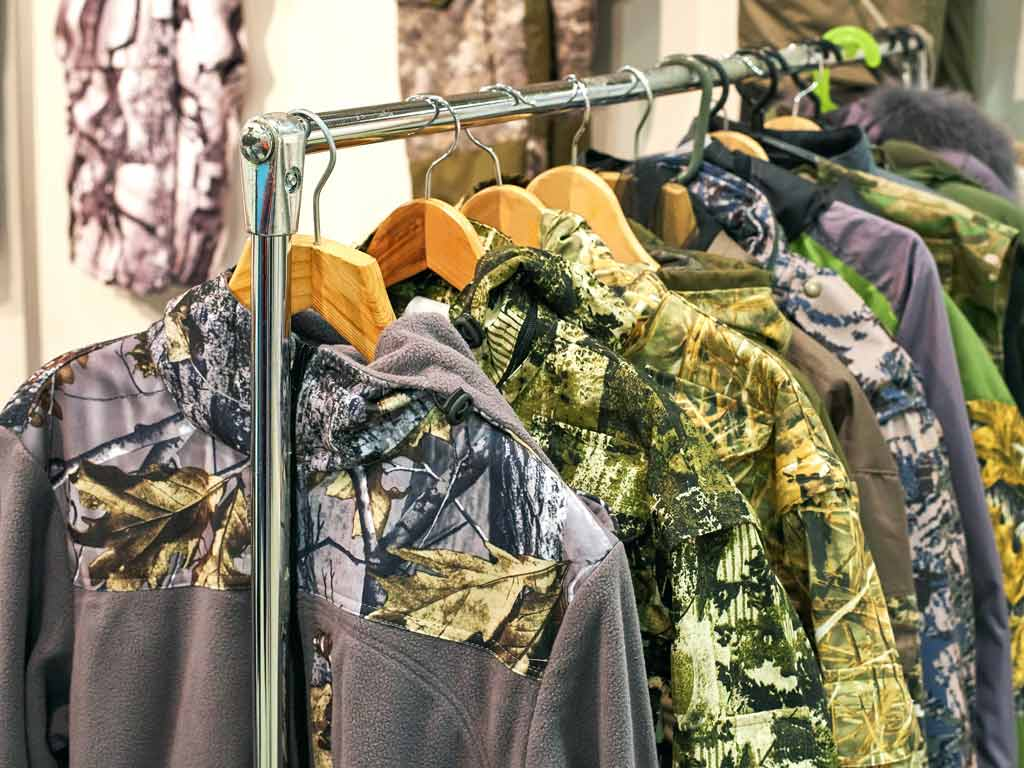 A display of camouflage fishing shirts