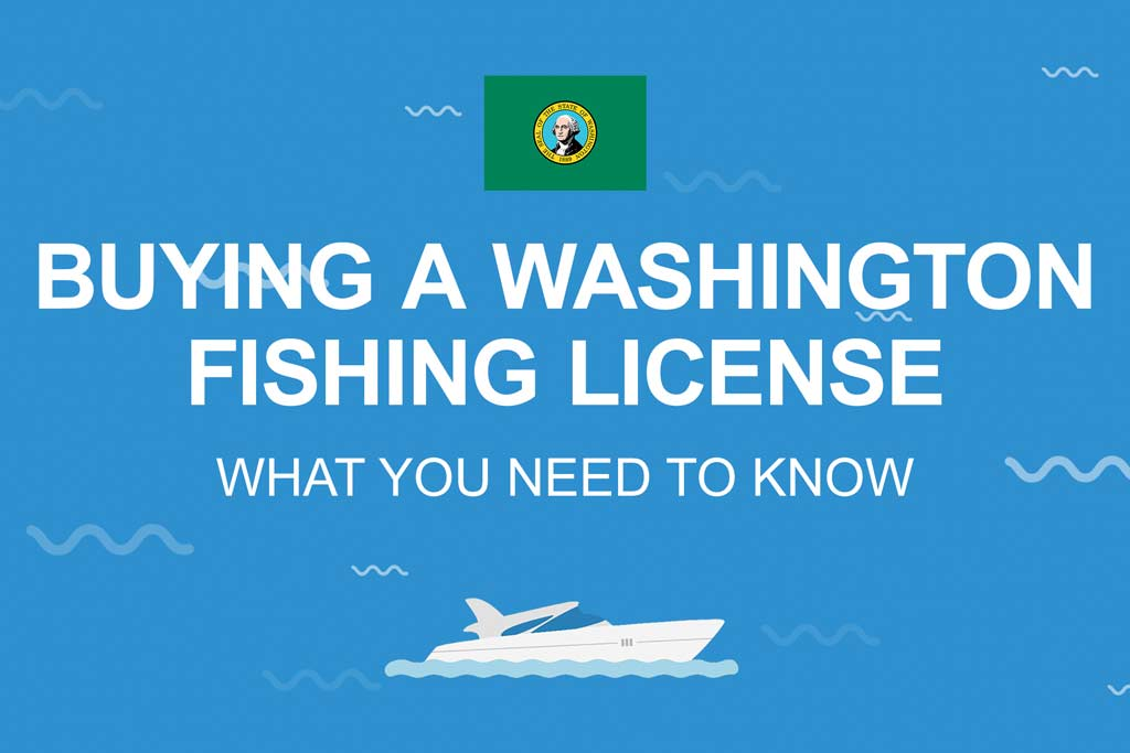 """An infographic with the Washington state flag and the text """"Buying a Washington fishing license: What You Need to Know"""" set against a blue background"""