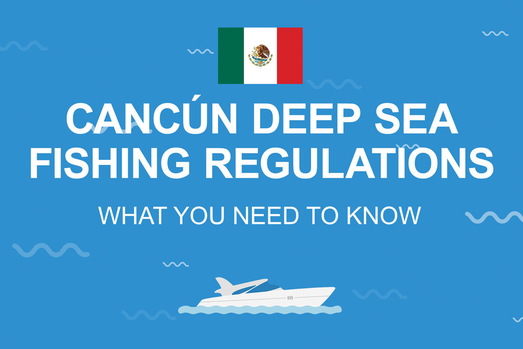 """An infographic with the Mexican flag, a picture of a boat and text stating """"Cancún Fishing Regulations: What You Need to Know"""" against a blue background"""