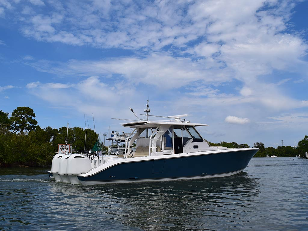 A center console boat floating on the water somewhere near Tarpon Springs