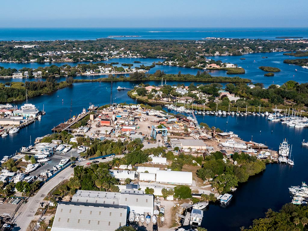 An aerial view of Tarpon Springs, Florida, during the daytime