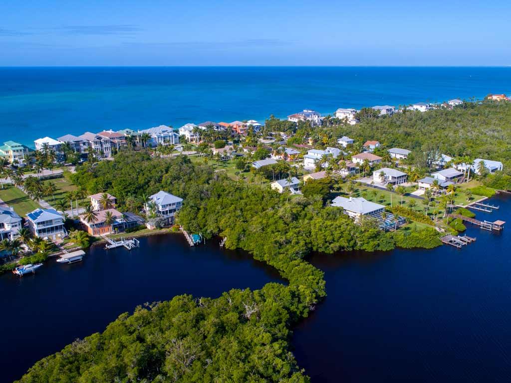 An aerial view of the bay in Bonita Springs, Florida.
