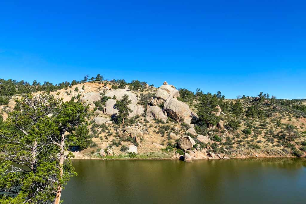 A view from the water of the Granite Springs Reservoir in Wyoming