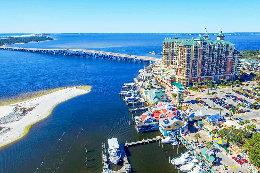 An aerial view of Destin cityscape and surrounding waters