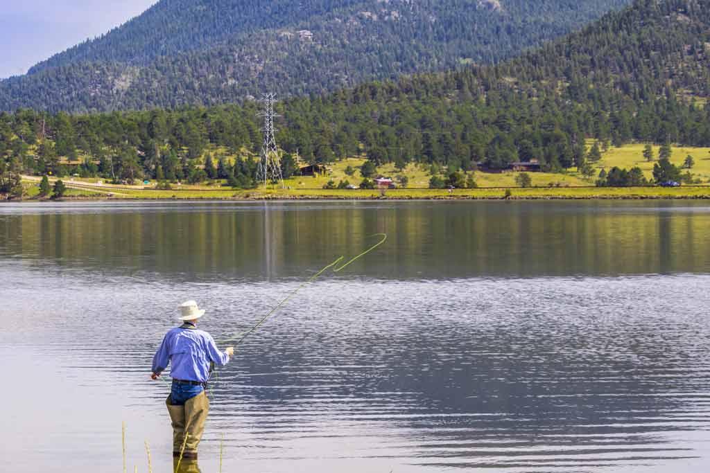 A fisherman fishing on a lake near Estes Park, Colorado