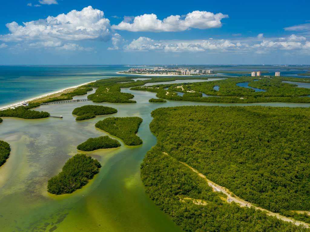 An aerial view of Lovers Key State Park in Bonita Springs, Florida.