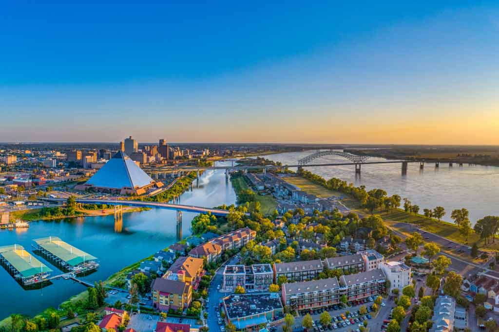 An aerial view of downtown Memphis, Tennessee
